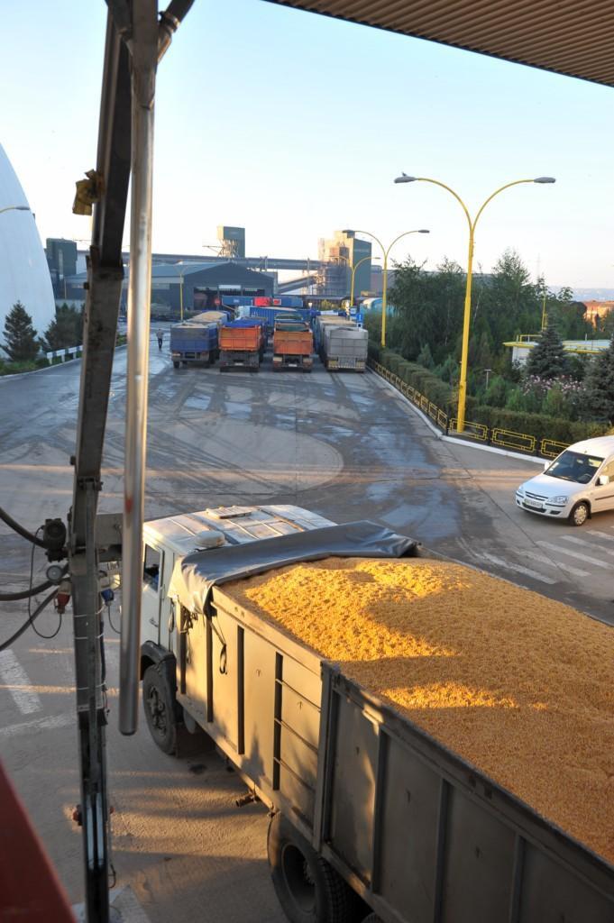 В очікуванні розвантаження машини з вологою кукурудзою, що потребує сушіння