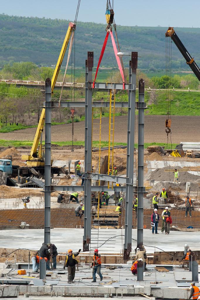 Монтаж металоконструкцій зерноочисної башти
