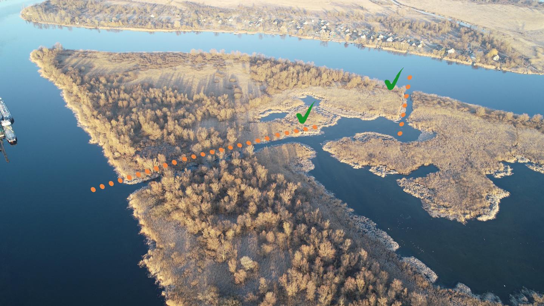 Прочищені протоки та єрики озера Боброве (фото ГО Українське товариство охорони птахів)