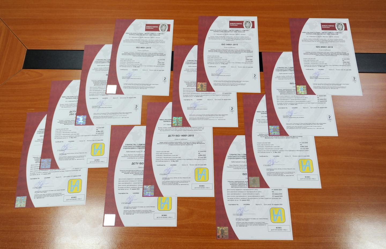 Сертифікати відповідності інтегрованої системи менеджменту підприємства (ІСМ) суворим вимогам міжнародних стандартів у сфері менеджменту якості, охорони навколишнього середовища та охорони праці